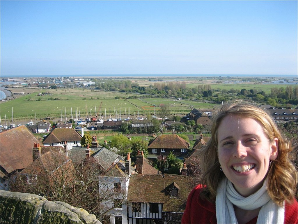 Rosie at the top of the Rye Church tower.