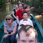 Group candid in a canoe