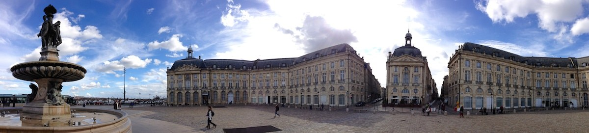 Place de la Bourse captured by the iPhone panorama mode.